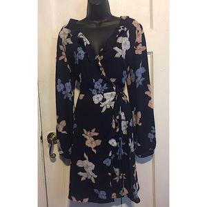 Astr Dresses - Astr Navy Blue Floral Wrap Dress
